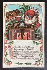Vintage Christmas Postcard - Santa w/sack Of Toys at Fireplace