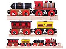 Pirate Train + Trucks & Cargo Wooden Track Engine BJT473 Bigjigs (Brio Thomas)