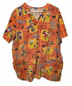 "Vintage World of Disney Halloween Scrub Top Womens XXL 48"" Chest Orange Material"