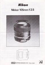 MANUALE originale per NIKON Nikkor 105MM F/2.5 AI Lens