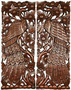 Peacock Animal Carved wood wall art panels Home Decor.Brown Extra Thick Set of 2