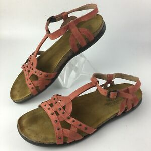 Naot Elinor Womens Coral Leather T-Strap Slingback Studded Sandals sz 40 US 9