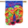 "Flip Flops Applique Summer House Flag Welcome Sunglasses 28"" x 40"""