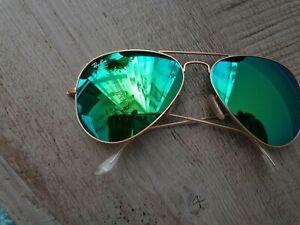 Rayban Green Aviator Sunglasses With Case