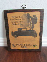 "Vintage Advertisement Pontiac Six Wood Wall Hanging Sign ""The Coupe"""