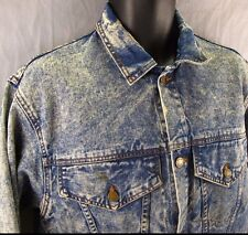 Anzani Denim Vintage Jean Jacket M Acid Wash Medium 1990's Frosted Blue