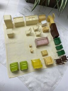 Vintage doll house furniture 25 pieces MAR brand table chairs sink Fridge more