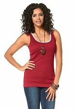BOYSEN'S Top Casual-Look gerippte Shirtware Spitze  Rot 44/46 Neu
