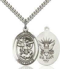 925 Sterling Silver St Michael Navy Military Soldier Catholic Medal Necklace