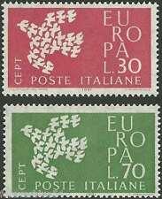 ITALIA 1961 SG 1066-1067 SC 845-846 Gomma integra, non linguellato EUROPA BIRDS SPEDIZIONE COMBINATA