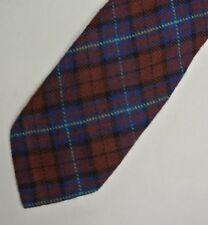 Fin Vintage Rouge Bleu Laine Ordinaire Écossais Auto Bout Cravate 5.6cm Large