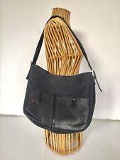 VINTAGE BALLY SWITZERLAND TEXTILE / LEATHER SHOULDER BAG M NAVY / BLACK EXC.COND