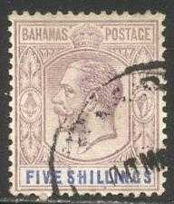 Bahamas #55 Used - 1912 5sh Pruple & Ultra ($90)