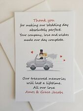 Personalised Wedding Thank You Cards - 20pk with envelopes - Vroom Vroom