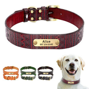 Real Leather Personalised Dog Collars Name Number Engraved for Small Large Dogs