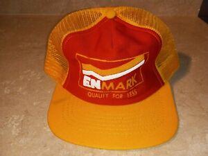 Vintage ENMARK Snapback Hat Trucker Mesh Yellow Red Cap