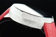 Mens Custom Completo Funda Digital Rojo I-Gucci YA114212 genuino reloj de Diamante de 2.50 quilates