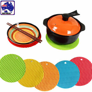 2 pcs Round Silicone Table Mat Cup Coaster Waterproof  Heat Resistant HKIMO29