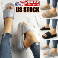 Women's Sequin Slip On Sandals Slippers Ladies Summer Casual Platform Shoes Size