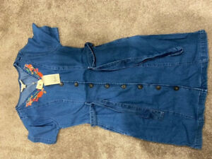YUMI button up Denim Shirt Dress With embrodery