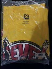 JOHN CENA WWE AUTHENTIC U CAN'T C ME NEVER GIVE UP YELLOW SHIRT L NEW  sealed