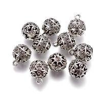 10 Tibetan Alloy Ball Charms Filigree Antique Silver Dangle Pendants Silver 18mm