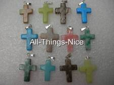 Gemstone Mix 20mm CROSS CRUCIFIX Pendants for Necklace Jewellery WHOLESALE 10