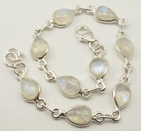 "925 Sterling Silver RAINBOW MOONSTONE LATEST STYLE Beautiful Bracelet 8.3"""