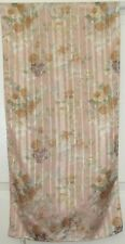 TERRIART Peach, Moss, Brown Flowers Satin Stripes 60x15 Lg Scarf-Vintage