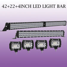 "42Inch+ 22""+ 4PCS 4inch LED Work Light Bar Flood Spot Combo Offroad Driving Lamp"