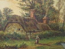 Tableau aquarelle chaumière signée Edward Beecham Lait Shaw & Sons Lith