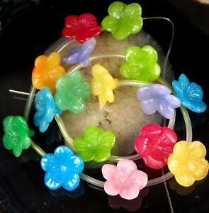 """18mm Carved Plumeria Flower Multi JADE Beads 16"""""""