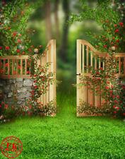 GREEN GRASS SPRING GATE BABY BACKDROP BACKGROUND VINYL PHOTO PRO 5X7FT 150x220CM