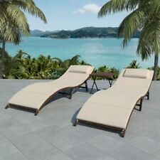 vidaXL Folding Sunlounger Set 5 Pieces Poly Rattan Furniture Seats Black/Brown
