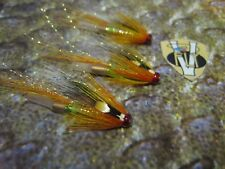 3 V Fly 1 Inch Spring Aurora Cascade Copper Salmon Tube Flies & 3 Trebles