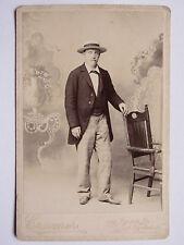 06C54 ANTICA FOTOGRAFIA FOTO CDV UOMO CON IL CAPPELLO CRAMER SAN FRANCISCO 1880