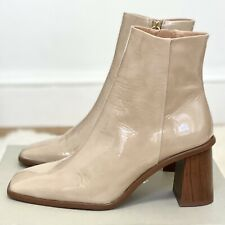 Jigsaw Conduit Patent Leather Ankle Boots, Block Heel Taupe Beige Size 5 RRP£175
