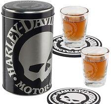 """Harley-Davidson """"SKULL SHOT"""" 2 Shotgläser, Blechdose, Untersetzer  *HDL-18748*"""