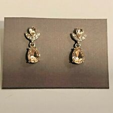 Givenchy Crystal Drop Earrings Post Back Gold Tone Setting 7/8""