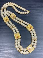 1950S White Beaded 2 Strand Imitation Pearl Ceramic Flower  Accent Necklace 28""