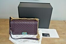 Chanel New Medium Purple Le Boy in Brushed Gold Hardware Boy bag 2016