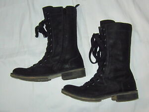FLY LONDON Black Suede Calf-high Boots  40/7