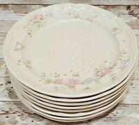 "Set of 8 Pfaltzgraff TEA ROSE Dinner Plates 10 3/8"" Pink Blue Flowers USA"
