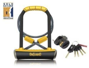 OnGuard Pitbull DT U-Lock & Cable Shackle D U Lock GOLD SOLD SECURE Bike 8005
