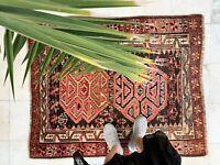 "Antique Handmade Vintage Anatolian Kars Ethnic Tribal Carpet Area Rug 4'3 x 3'6"""