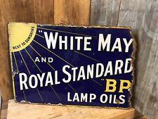 More details for vintage white may & royal standard bp lamp oils enamel sign