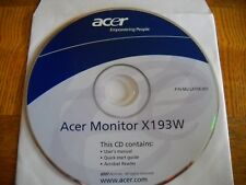 Acer X193W LCD Monitor CD User Manual Quick Start Guide Acrobat Reader