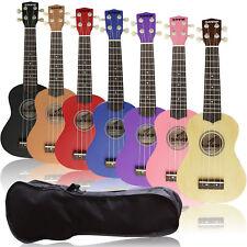 Kids Beginner Ukulele Ukelele Soprano Instrument Hawaii Solid Guitar Free Bag