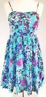 Louche Women's Dress Blue Purple Size 10 Floral Wedding Summer VGC