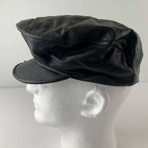 Vintage Stetson Men S / M Black  Leather Snap Hat Cabbie Newsboy Driving Cap USA